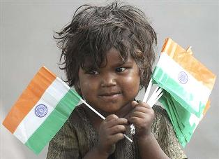 child selling indian flag